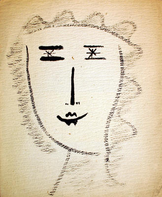 Untitled ink drawing (face of a woman)