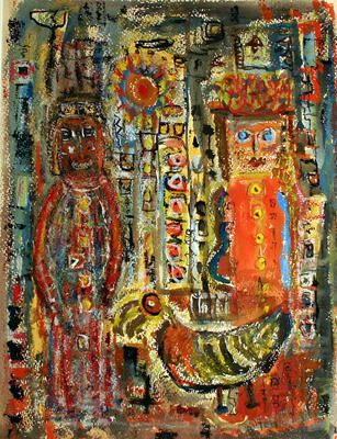 Untitled (Two figures w/rooster)