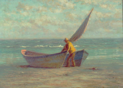 BEACH WITH TWO DORIES