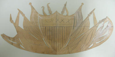 Pattern for shield with draped flags