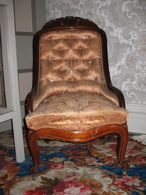 Black Walnut Lady's Armchair in Gold Silk Upholstery