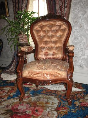 Black Walnut Man's Armchair in Gold Silk Upholstery