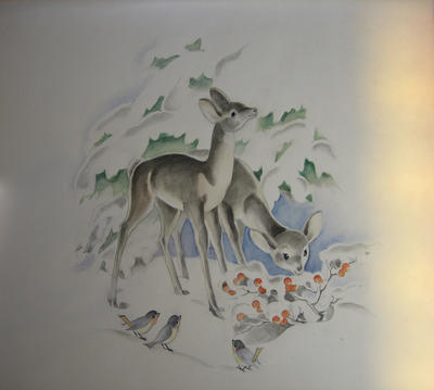 Untitled (Two Fawns and Bird in Snow)
