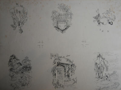 Untitled (Six Drawings of Figures, Houses and Sheep)