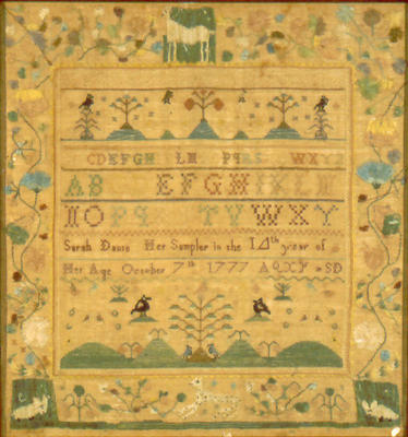 Sarah Davis and Her Sampler in the 14th Year of Her Age October 7th, 1777