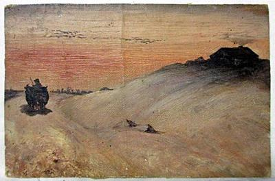 Untitled (landscape w/house and oxen team)