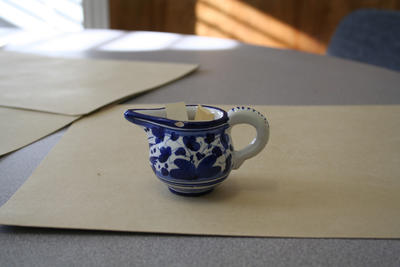 Blue pottery pitcher from Assisi, Italy