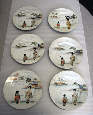 Set of Six Oriental Plates