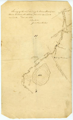 Survey map of the road leading to Isaac Steven's and thence to Eben Carleton's