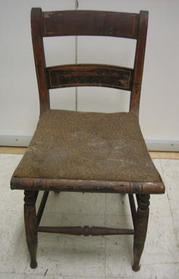 Rosewood grained chair with rush seat