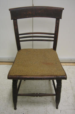 Rosewood grained chair with rolled rail and striped decoration