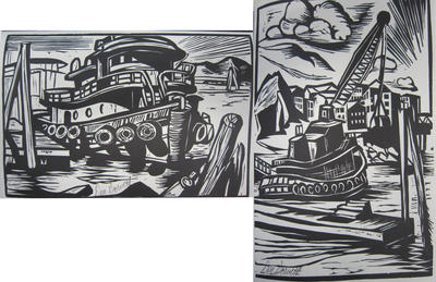 Don Gorvett: Woodcut: Blocks and Prints