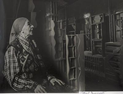 Louise Nevelson Gazes at Her Artwork, New York