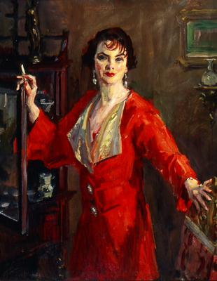 Lady in a Red with Cigarette