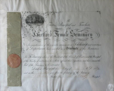 Framed Diploma from Hartford Female Seminary for Fannie Farnsworth