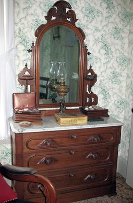 Black Walnut and Marble Topped Dresser with Adorner Easel-Swing Mirror