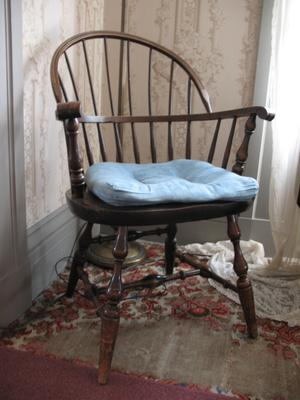 Black Walnut Chair with Blue Cushion