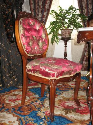 Walnut Side Chair with a Scarlet Upholstery Print