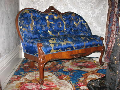 Black Walnut Love Seat with a Blue/Gold Silk  Upholstery