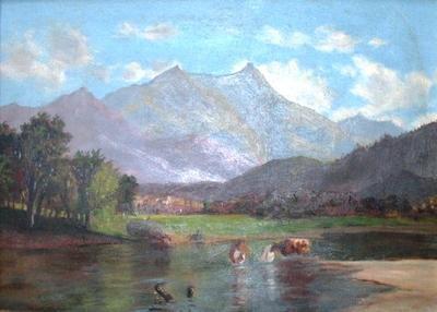 Untitled (Grazing Cows with Mountains)
