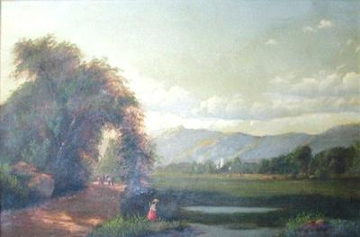Untitled (Trees, Mountains, and Figures)