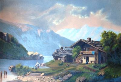 Untitled (Lake, Mountains, and House)
