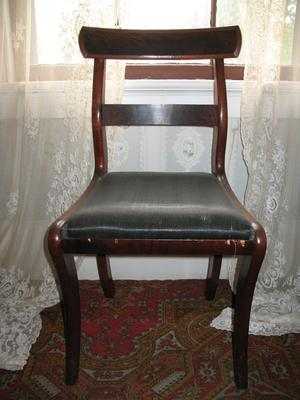 Mahogany Chair with Black Silk Seat