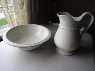 White Ceramic Pitcher with Basin