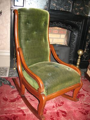 Black Walnut Slipper Rocker with Green Velvet Seat