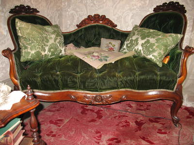 Black Walnut Love Seat with Green Velvet