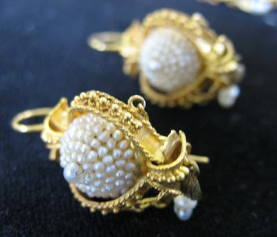 Gold and Seed Pearl Brooch