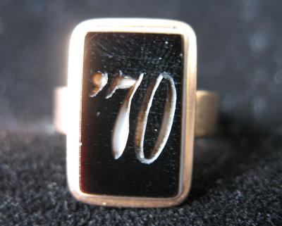 "Woman's Gold Agate Ring with Black Stone Carved with ""70"""