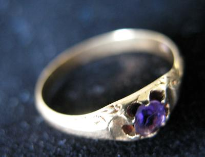 Woman's Gold and Amethyst Ring