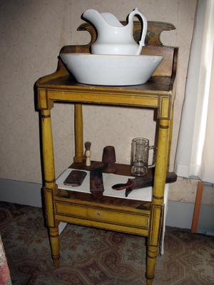 Wash Stand (Painted Yellow with Two Shelves)