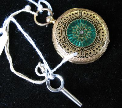 Lady's Gold, Diamond and Green Enamel Hunting Case Pocket Watch