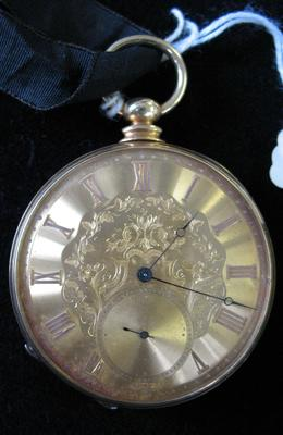 Gold Pocket Watch on Black Ribbon