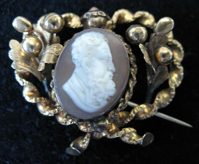 Gold Filled Oval Cameo Pin of Bearded Man's Profile