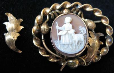 Gold Filled Oval Cameo Pin of Girl and Goat