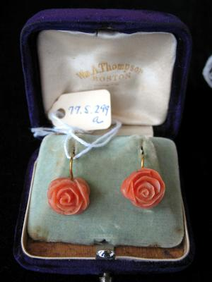 Coral Rose and Gold Earring