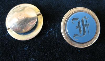 "Gold and Blue Agate Cuff Button with Etched ""F"""