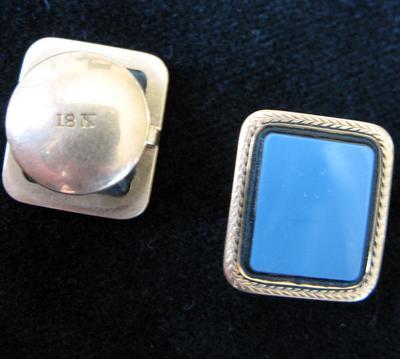 Gold and Blue Agate Cuff Button