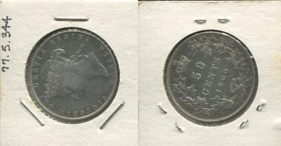 One 50 Cent Silver Coin, Canada, 1900
