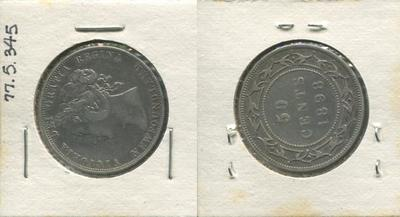 One 50 Cent Silver Coin, Newfoundland, 1898
