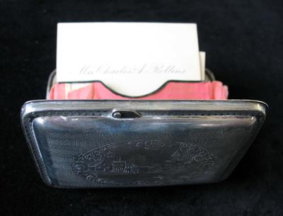 Sterling Silver Engraved Calling Card Case with Inner Compartments