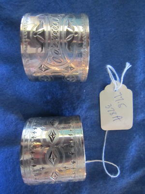 Set of Silver Napkin Rings with Etched Geometric Designs