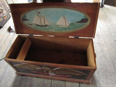 Dome Topped Wooden Steamer Trunk with Carved Eagle and Sailing Scene