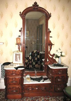 Black Walnut Dresser with Marble Top and Mirror