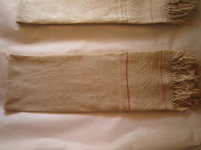 White Embroidered Towel with Two Red Stripes