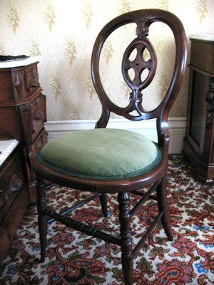 Black Walnut Side Chair with Green Corduroy
