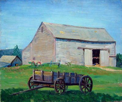 Untitled (Blue Wagon/Barn)